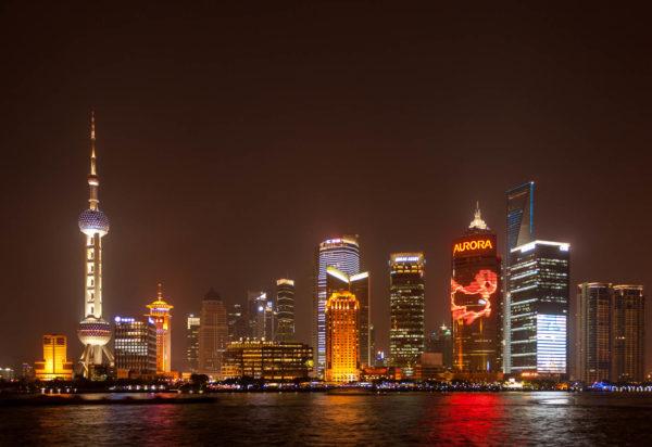 Shanghai, China, Nacht, Skyline