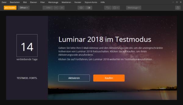 Luminar 2018 - Startscreen