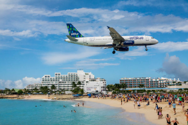 Maho Beach, St. Maarten, Flugzeug, Strand