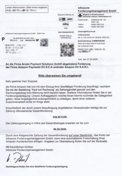 Schreiben vom Inkassobüro infoscore Forderungsmanagement