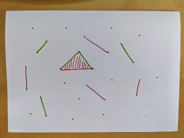 Strategiespiel, Papier, Punkte, Geraden, Flächen