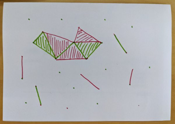 Strategiespiel, Papier, Punkte, Linien, Flächen