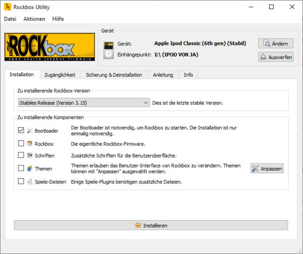 Rockbox Utility, Installation Bootloader