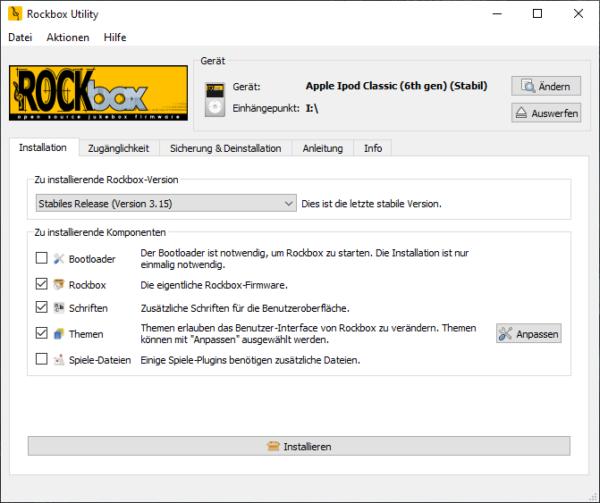 Rockbox Utility, Auswahl Software Installation